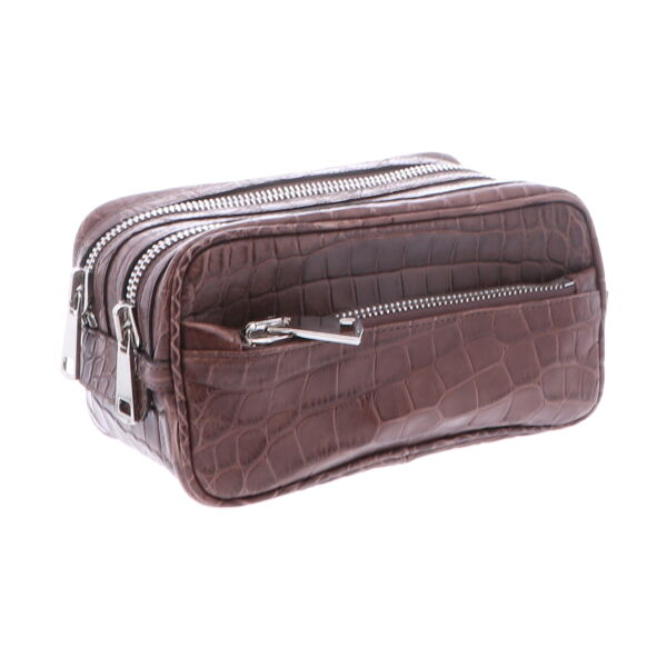 Closeup photo of Mens Brown DOPP Kit Alligator
