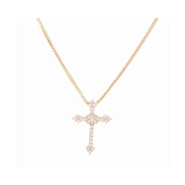 Closeup photo of 18k Yellow Gold Prong Set Diamond Cross Pendant