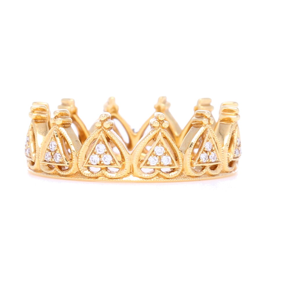 18k Yellow Gold and Diamond Beverley K Crown Ring