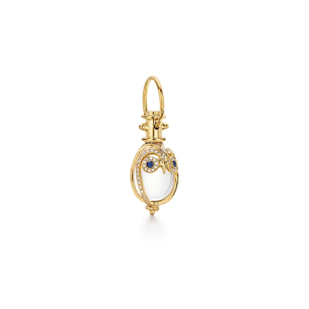 Small 18K Owl Amulet with blue sapphire and diamond pave