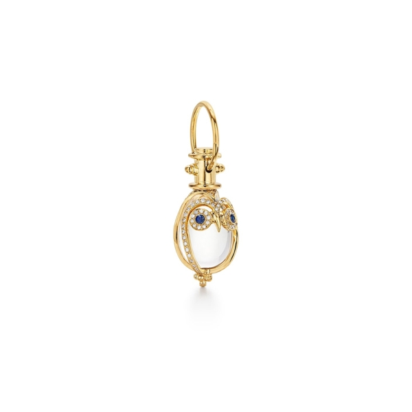 Closeup photo of Small 18K Owl Amulet with blue sapphire and diamond pave
