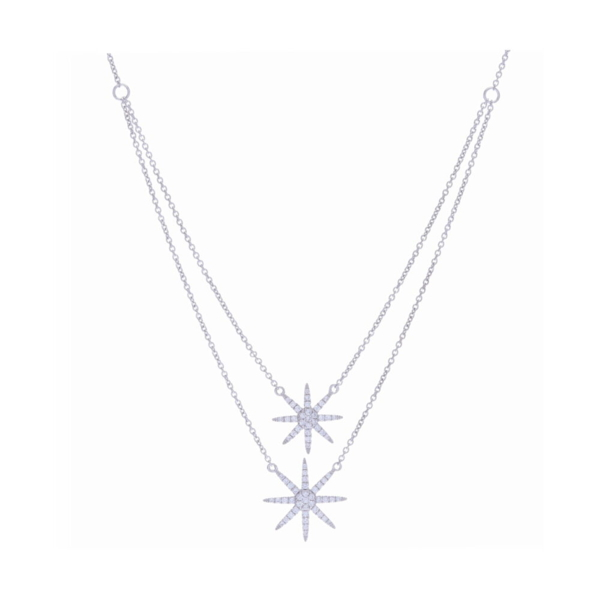 Closeup photo of Double Drop Star Necklace
