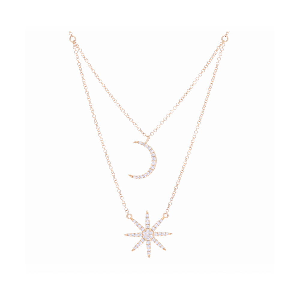 Double Star + Moon Necklace