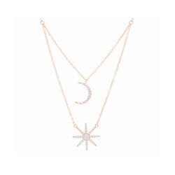 Closeup photo of Double Star + Moon Necklace