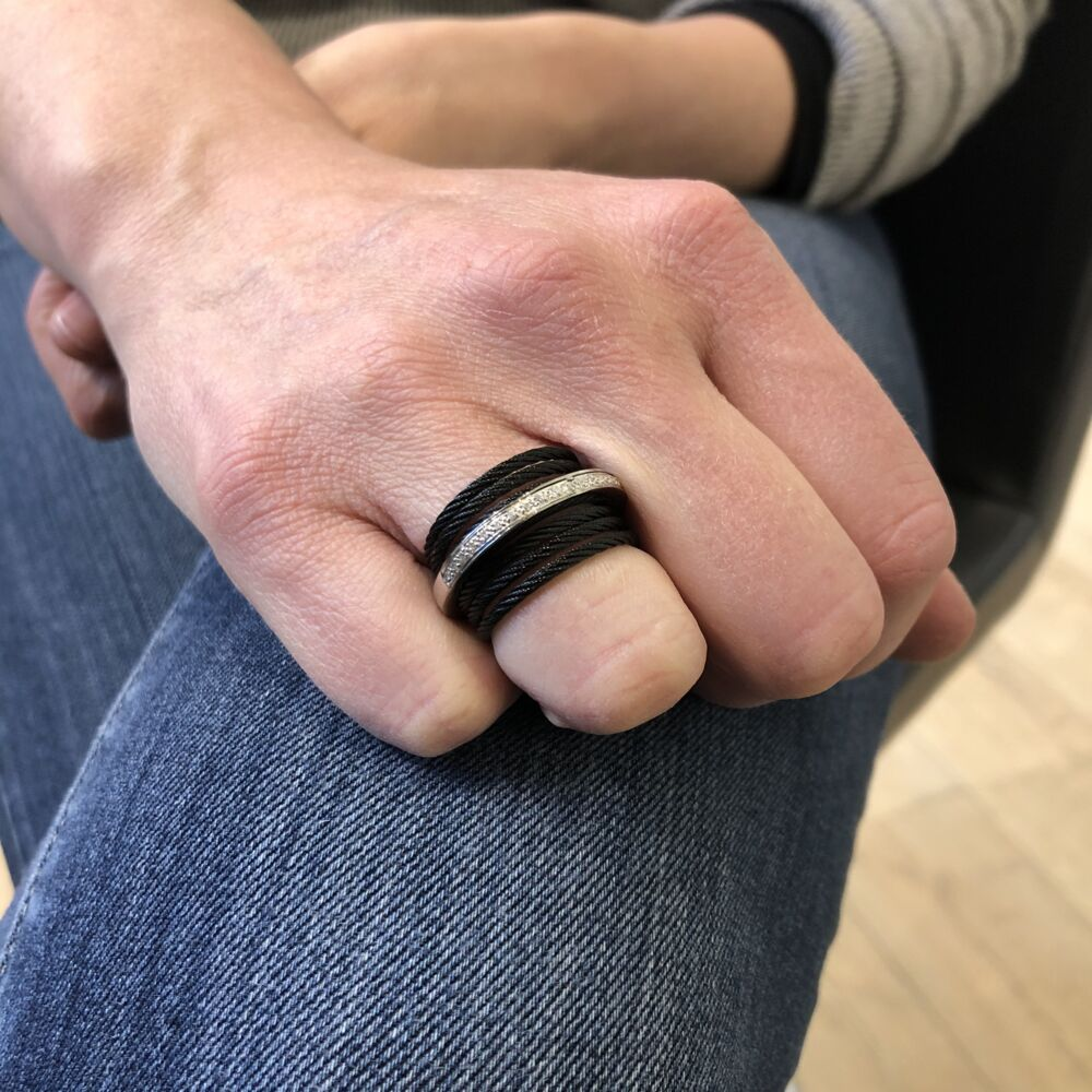 Noir Stacked Band Ring