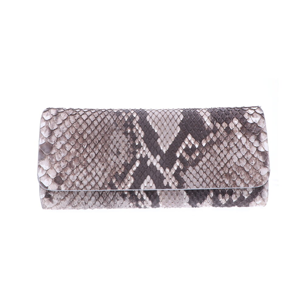 Natural Python Evening Clutch