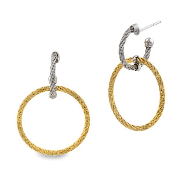 Closeup photo of Double Hoop Drop Cable Earrings