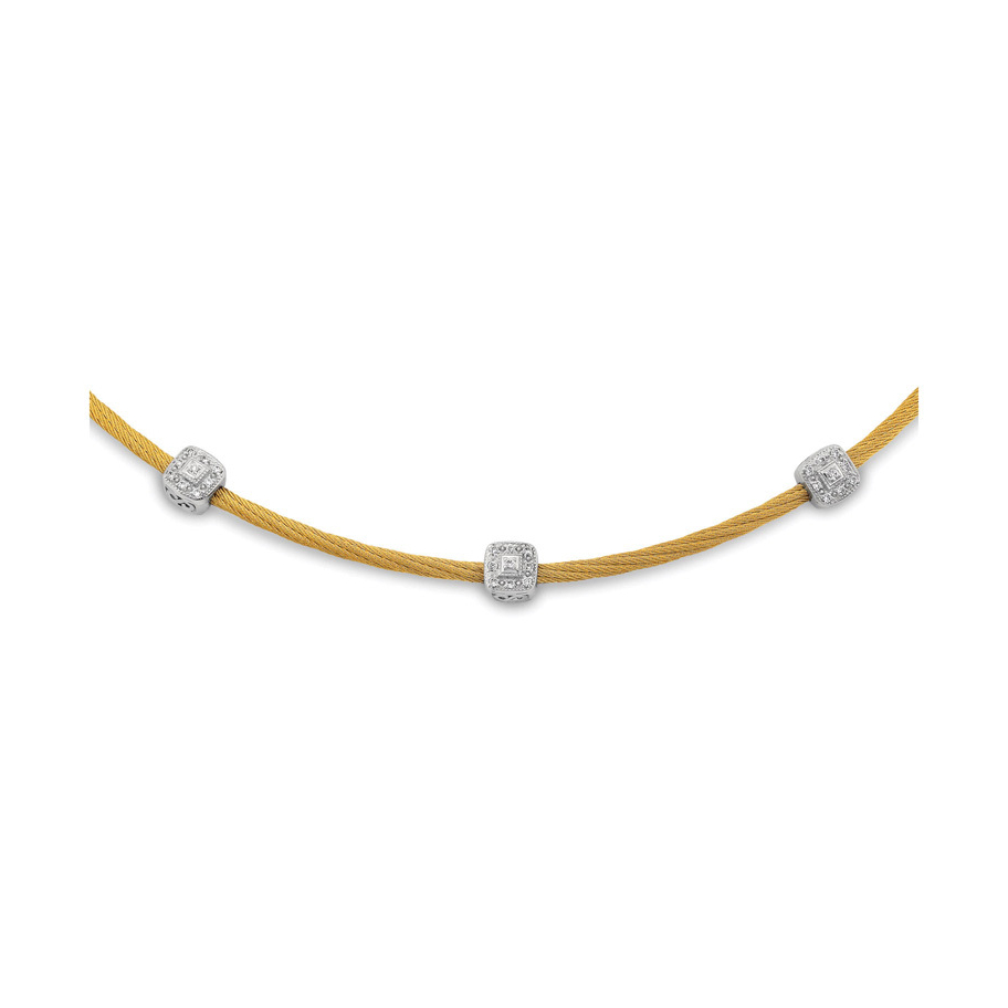 Twisted Cable Necklace with Three Square Diamond Stations