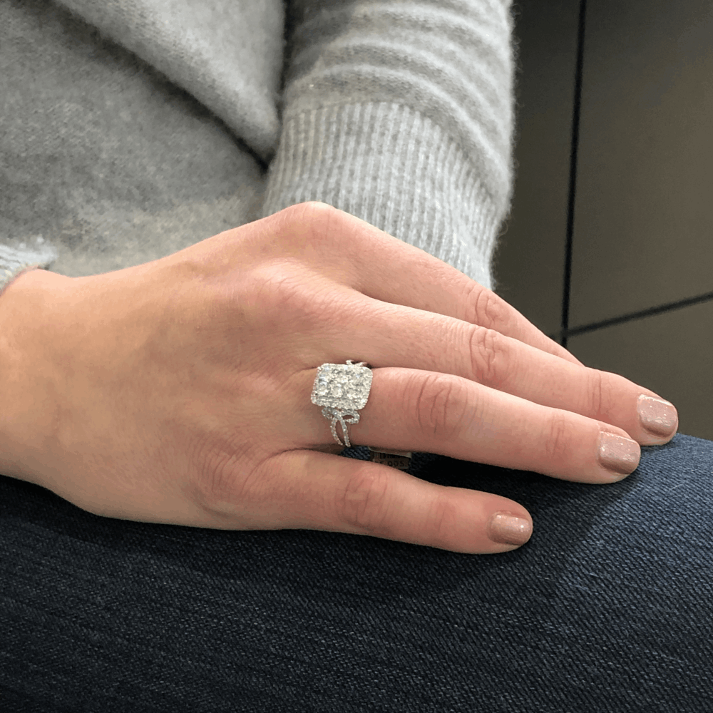 Image 2 for 18k White Gold Rectangle Shape Cluster Diamond Statement Ring