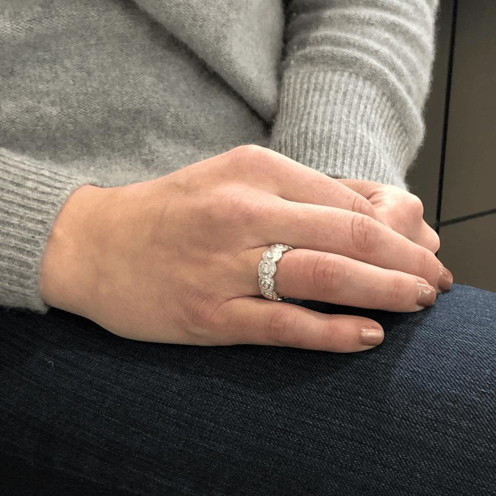 Image 2 for 18k White Gold Halo Set Brilliant Cut Diamond Eternity Ring