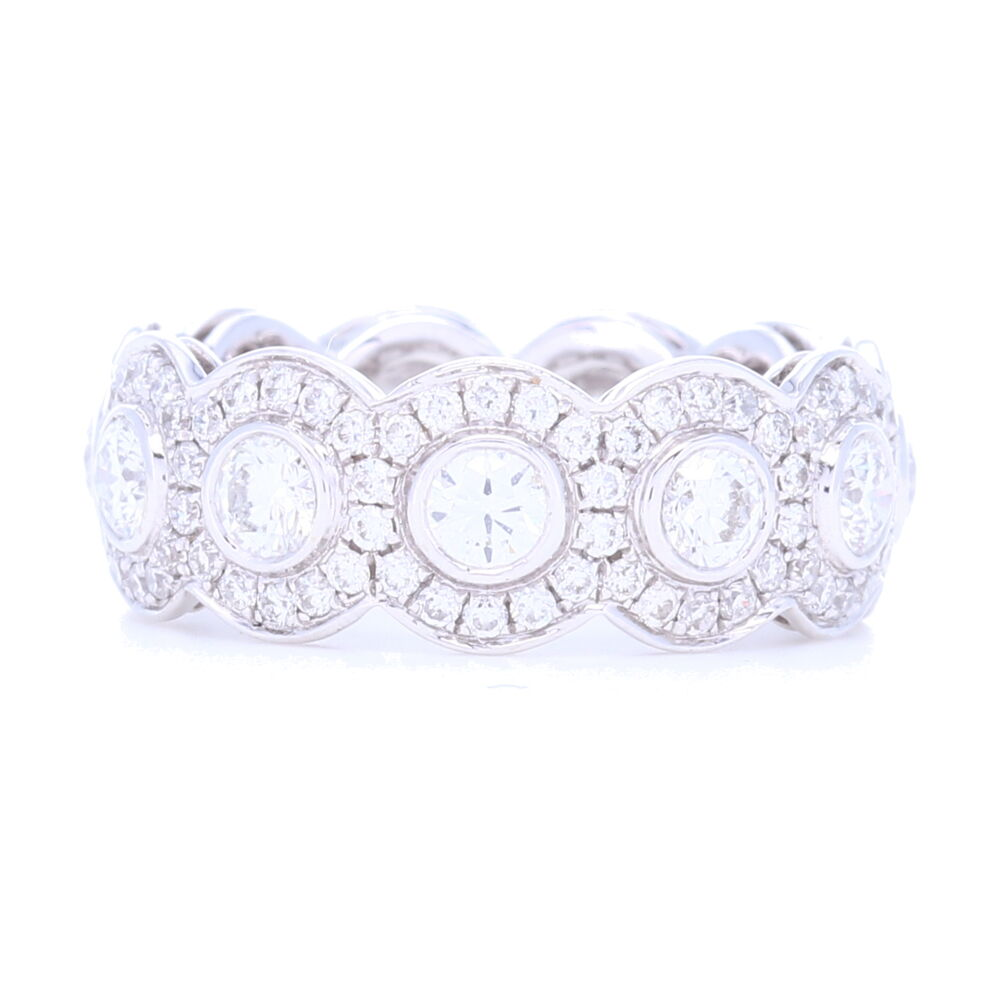 18k White Gold Halo Set Brilliant Cut Diamond Eternity Ring