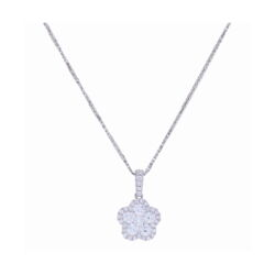 Closeup photo of 18k White Gold Cluster Flower Pendant with Diamond Halo