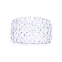 Closeup photo of Wide 18k White Gold Brilliant Cut Diamond Prong Set Ring