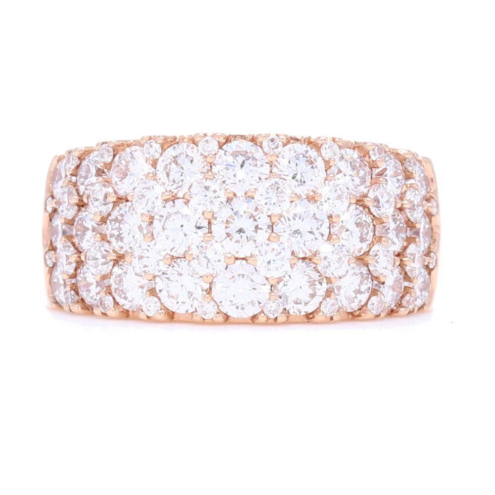 Wide 18k Rose Gold Prong Set Brilliant Cut Diamond Ring