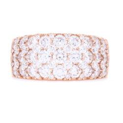 Closeup photo of Wide 18k Rose Gold Prong Set Brilliant Cut Diamond Ring