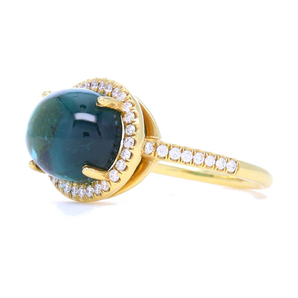 18K Tourmaline Cabochon Ring with Diamond Halo