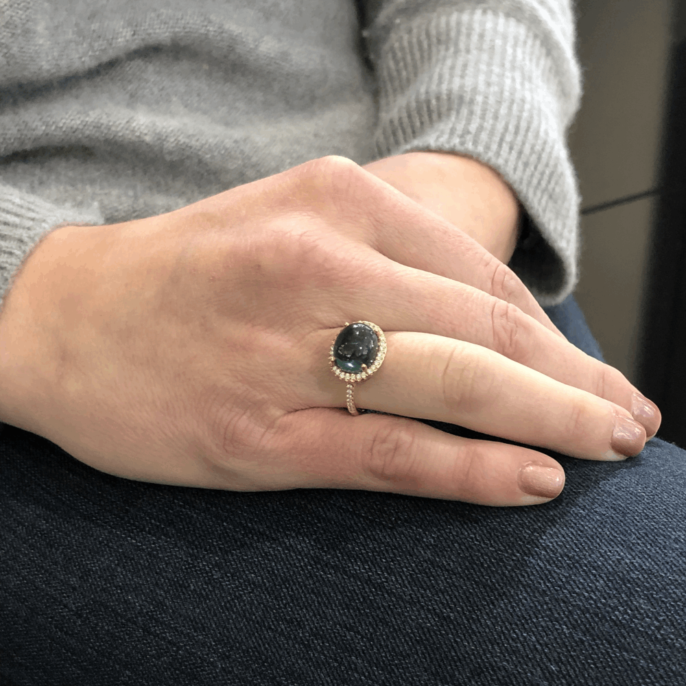 Image 2 for Tourmaline Cabochon Ring with Diamond Halo