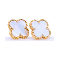 Closeup photo of Classic 18k White Mother of Pearl Clover Earrings