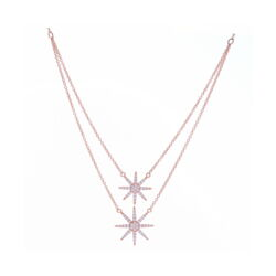 Closeup photo of 14KRG Double Star Burst Necklace