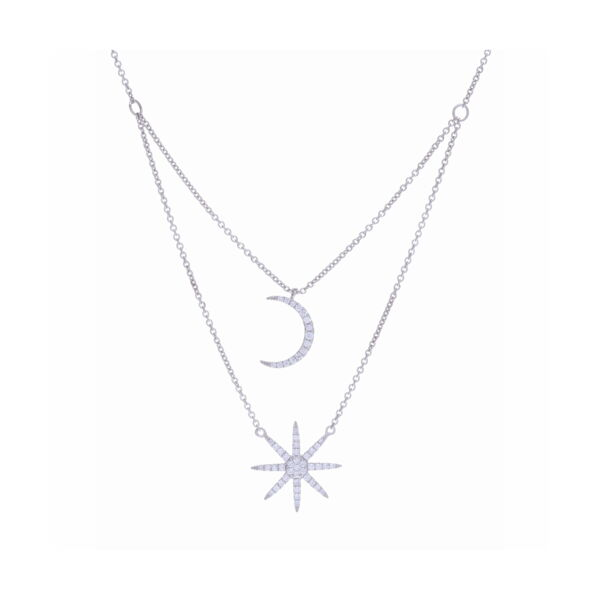 Closeup photo of 14k Star and Moon Tiered Necklace