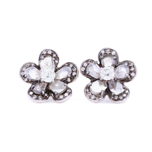 Closeup photo of !8k White Gold with Black Rhodium Diamond Slice Studs with White Diamond Halos