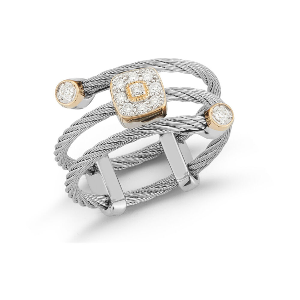 Image 2 for Yellow Cable Flex Ring with Square Diamond Stations set in 18kt White Gold