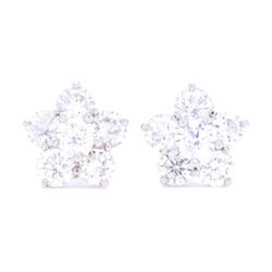 Closeup photo of Platinum Diamond Cluster Flower Studs