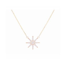 Closeup photo of 14k Yellow Gold Single Star Diamond Pendant