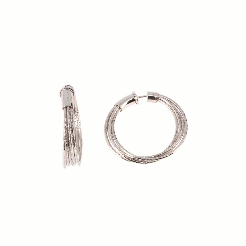 DNA Spring Small Hoop Earrings - Rhodium