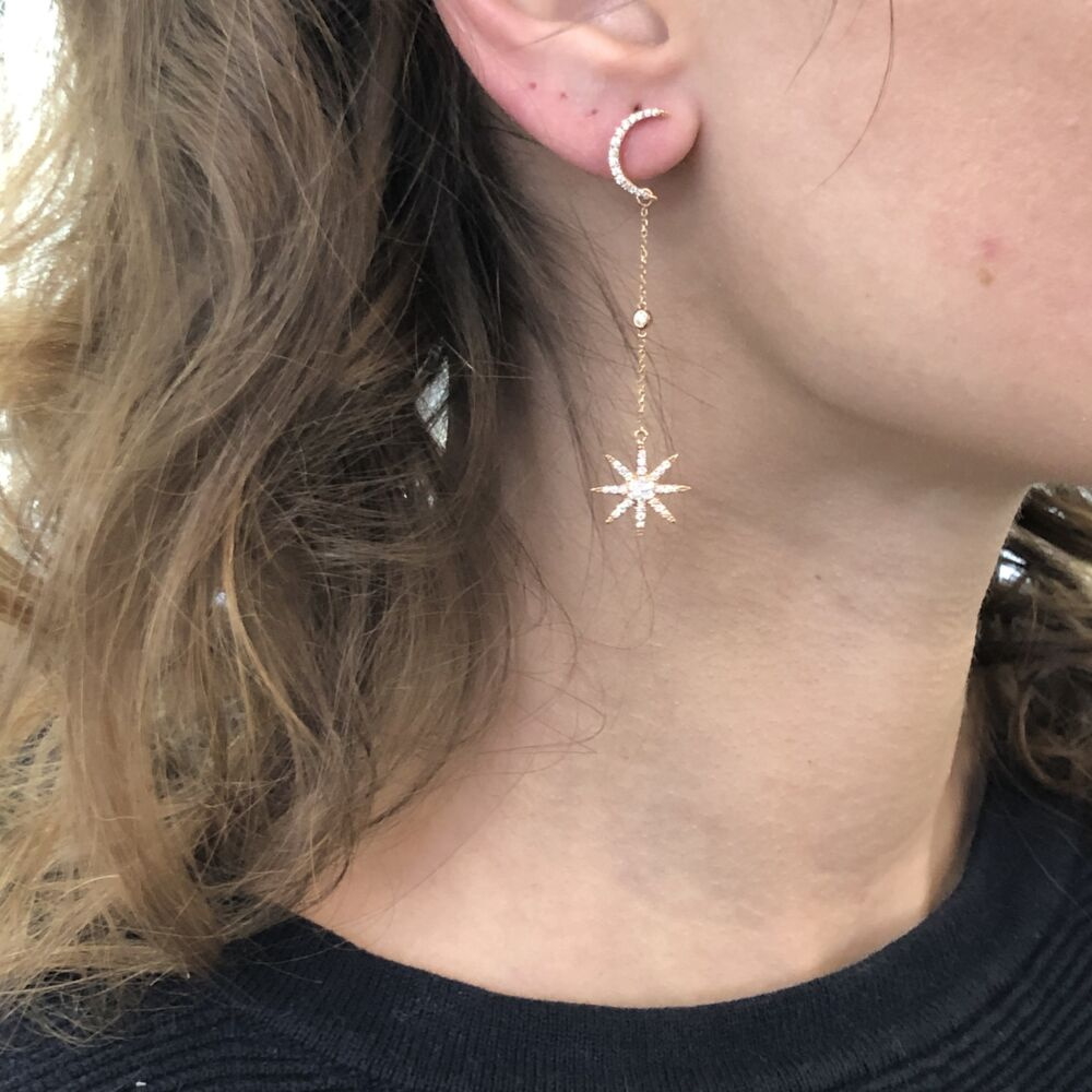 Image 2 for 14K Rose Gold Diamond Moon Studs with Star Drops