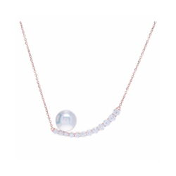 Closeup photo of 18k Rose Gold Diamond Crescent Pendant Necklace with Pearl Detail