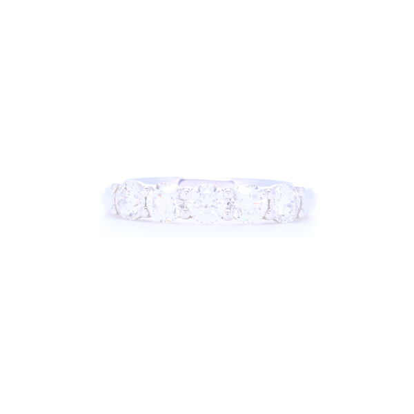 Closeup photo of 18k White Gold 5 Stone Brilliant Cut Diamond Stack Ring