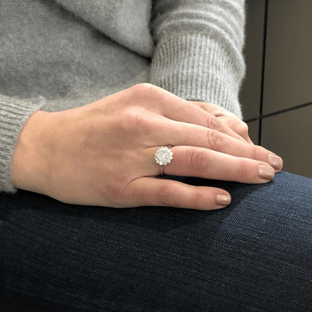 Image 2 for 18k White Gold Brilliant Cut Diamond Cluster Sun Ring