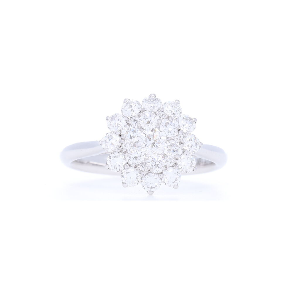 18k White Gold Brilliant Cut Diamond Cluster Sun Ring