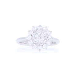 Closeup photo of 18k White Gold Brilliant Cut Diamond Cluster Sun Ring