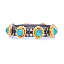 Closeup photo of Malachite and Rainbow Moonstone Doublet Eternity Stack Band