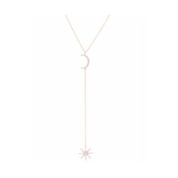 Closeup photo of 14k Yellow Gold Y-Neck Moon & Star Drop Necklace