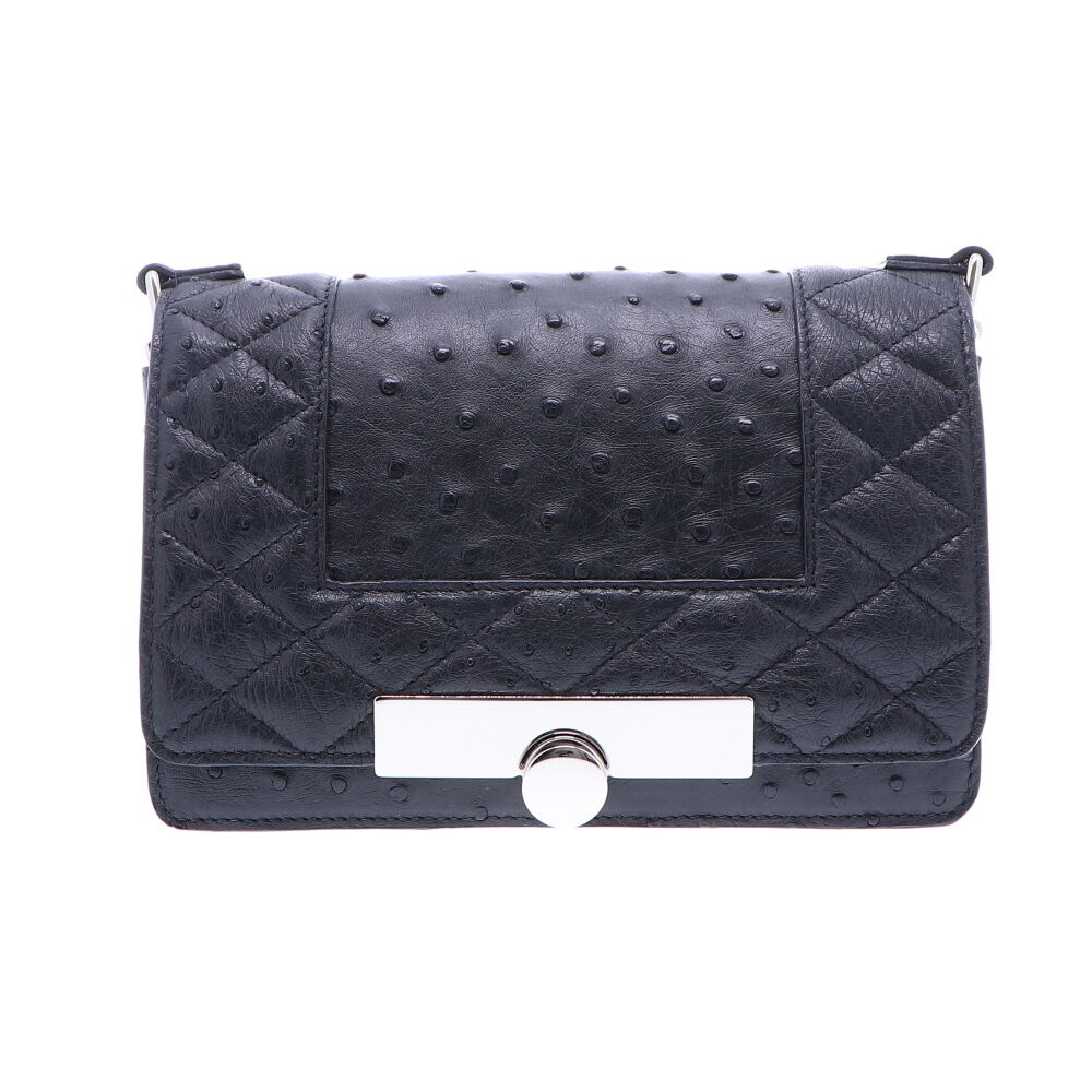 Black Ostrich Chain Bag