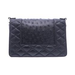 Closeup photo of Black Ostrich Chain Bag
