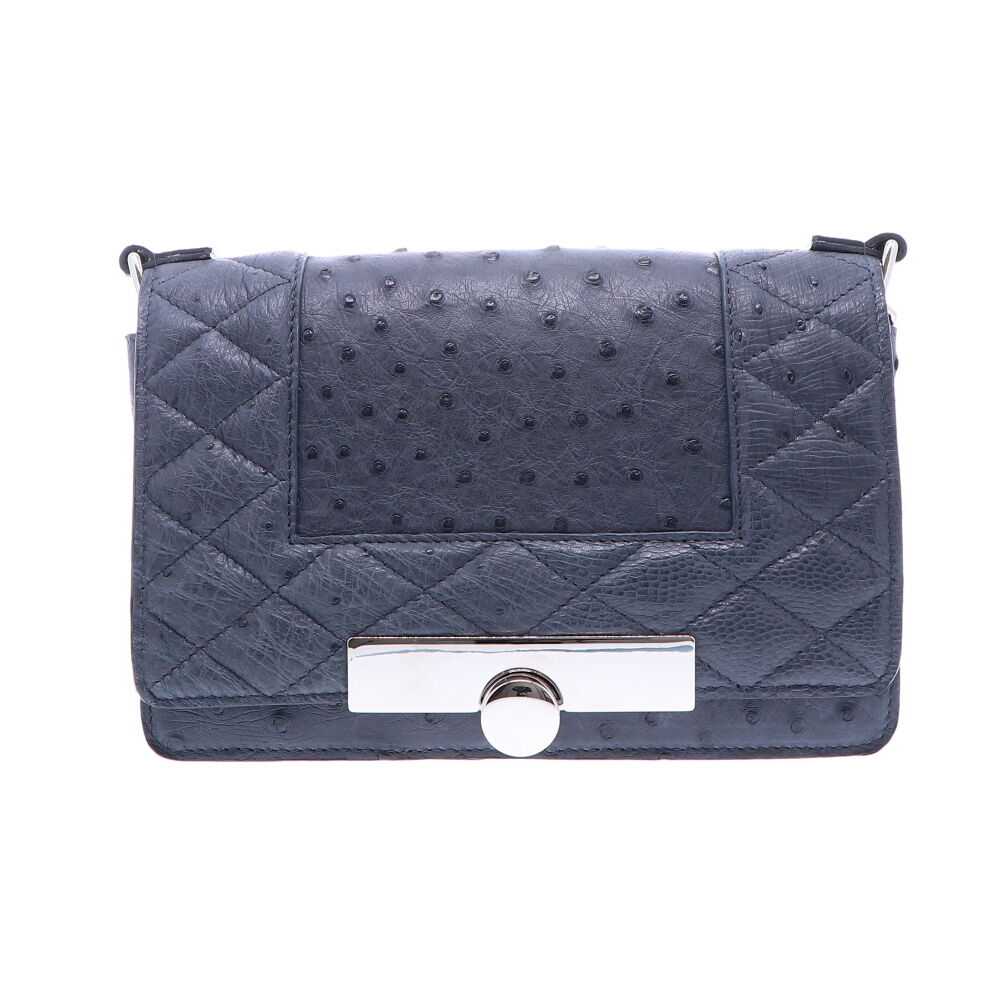 Navy Ostrich Chain Bag