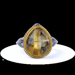 Closeup photo of Kurtulan Rutilated Quartz Sterling & 24k Ring
