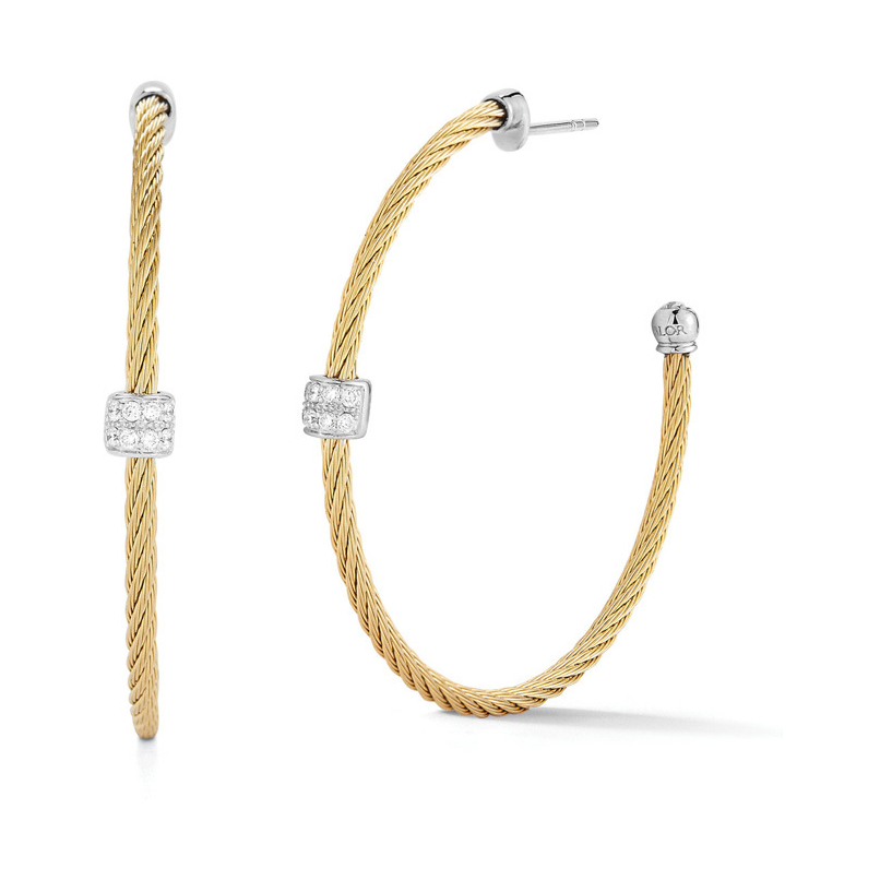 Single Diamond Station Hoop Cable Earrings