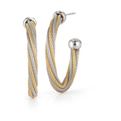 Closeup photo of Twisted Two Tone Cable Hoop Earrings