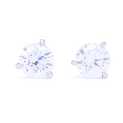 Closeup photo of 2.00tcw SI1 H/J Diamond Studs set in a Platinum Martini Setting