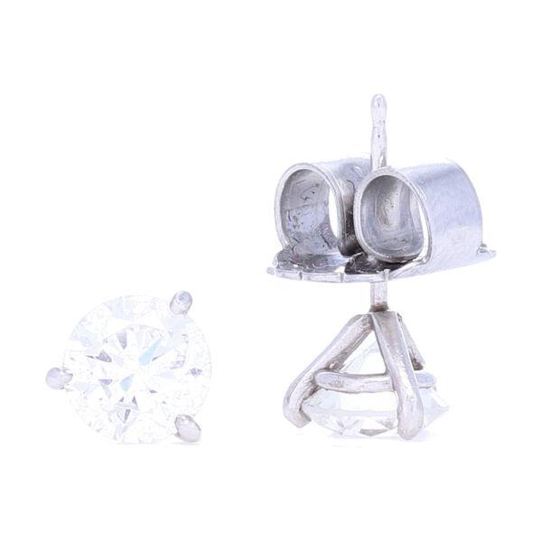 Closeup photo of 2.00tcw SI1 H/J Diamond Studs set in a Platinum Martini Setting