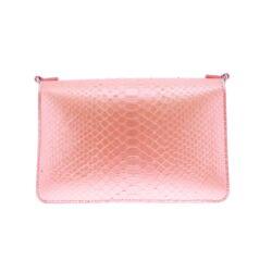 Closeup photo of Matte Salmon Python Chain Bag