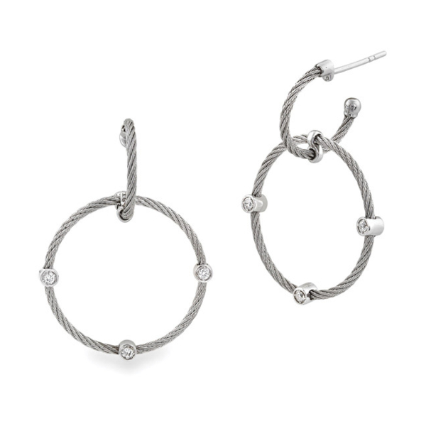 Closeup photo of Diamond Station Double Hoop Drop Cable Earrings
