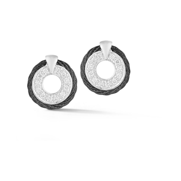 Closeup photo of Circle Diamond Stud Cable Earrings