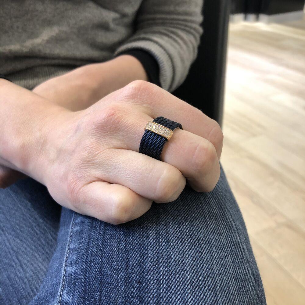 Blueberry Stacked Multi-Cable Ring