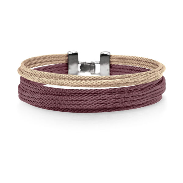 Closeup photo of ALOR Classique Women's Multi-Strand Stacked Burgundy and Gold Cable Bangle - ALOR